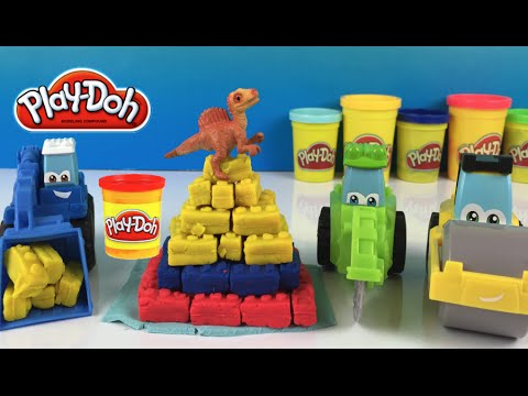 Play Doh Diggin Rigs Pyramid Wheel Loader- Cutter Roller- mighty machines construction vehicles toys