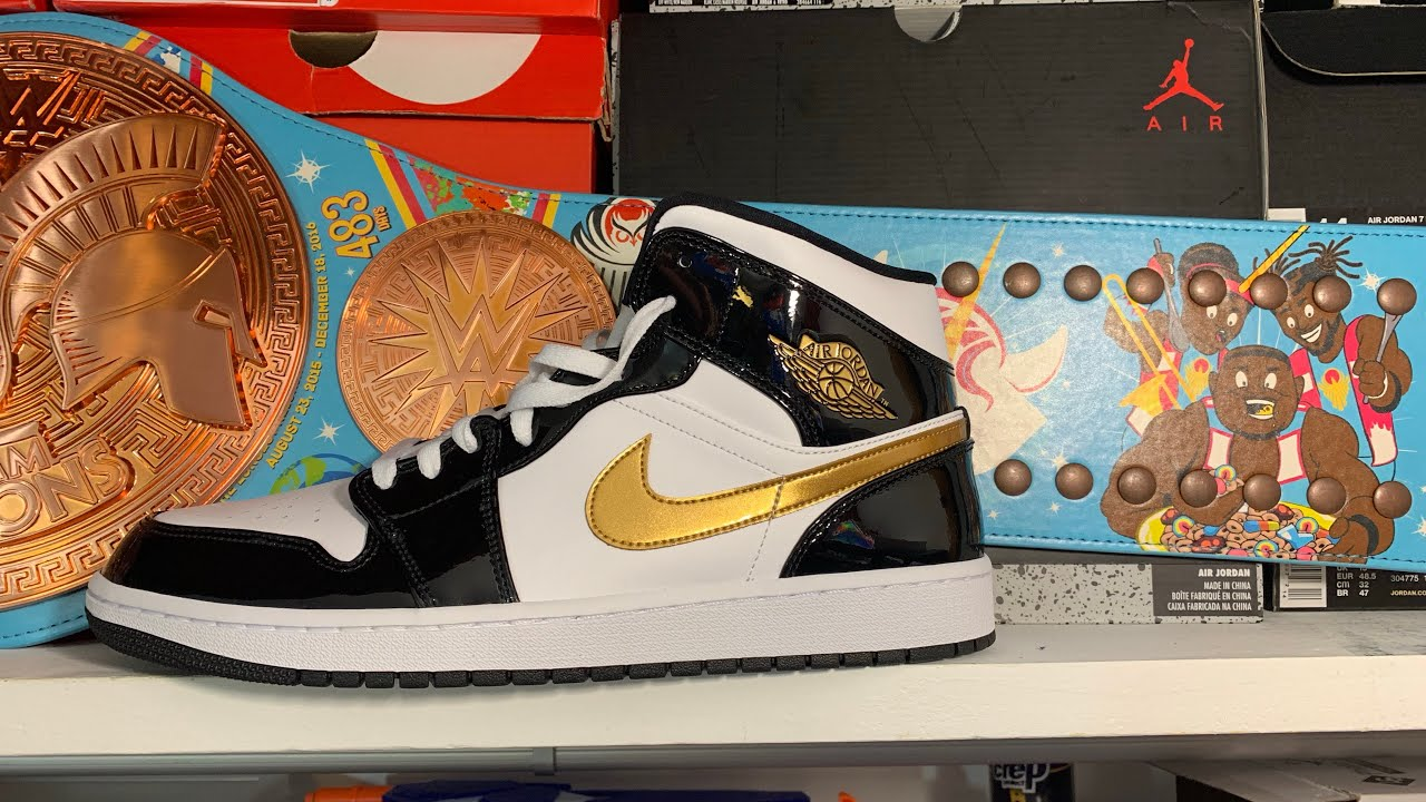 524abdc63e1a Air Jordan 1 Mid Black and Gold Review   On Feet! - YouTube