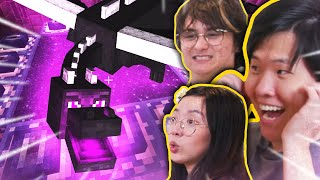 First time fighting the ENDER DRAGON w/ Michael Reeves, LilyPichu, Scarra, Sykkuno, Valkyrae, & more