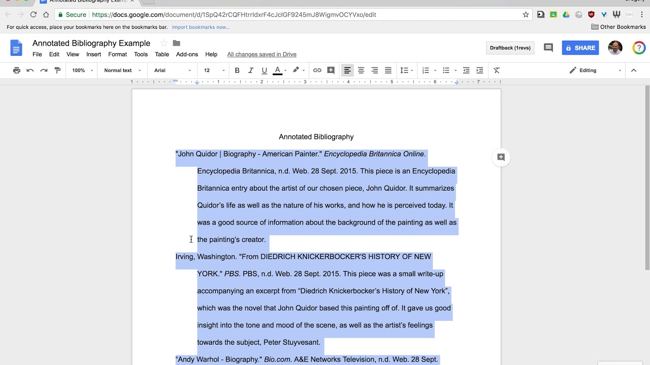 Format an Annotated Bibliography in Google Docs