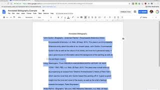Format an Annotated Bibli๐graphy in Google Docs