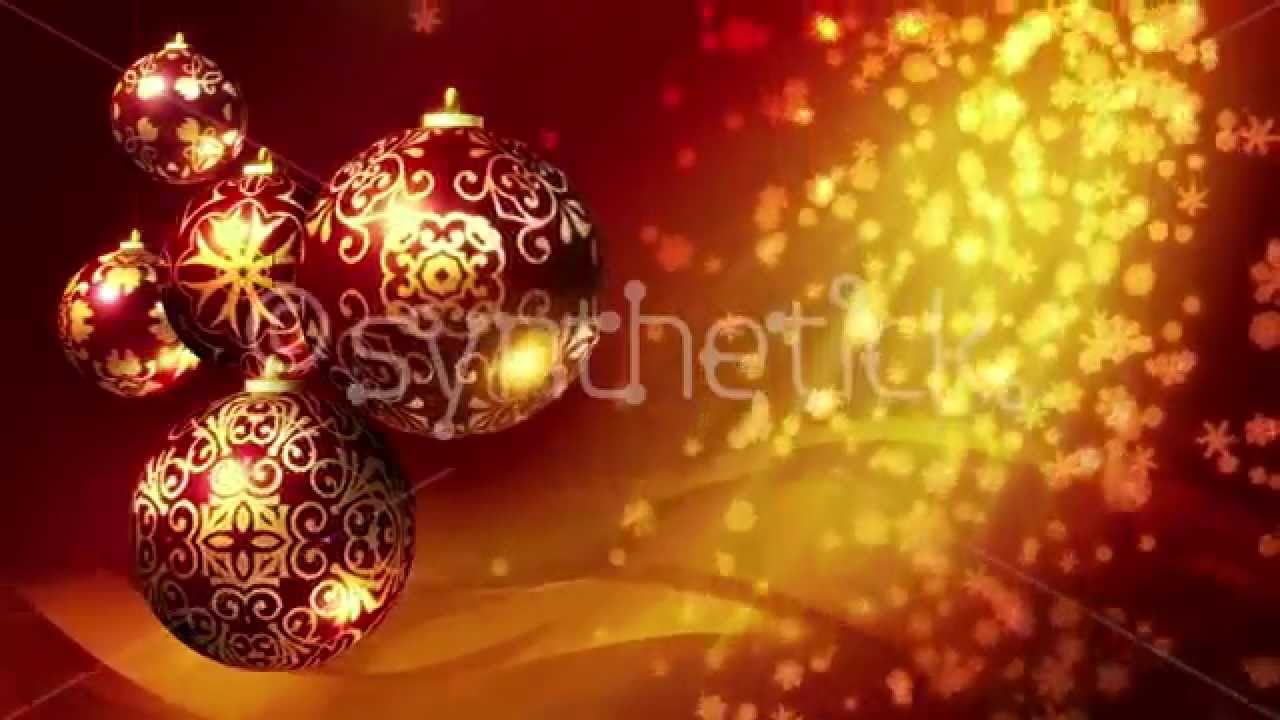 Christmas background loop. Red and gold Christmas balls and ...