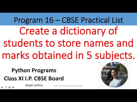 Python program 6, Create a Dictionary to store names of students and marks in 5 subjects #python