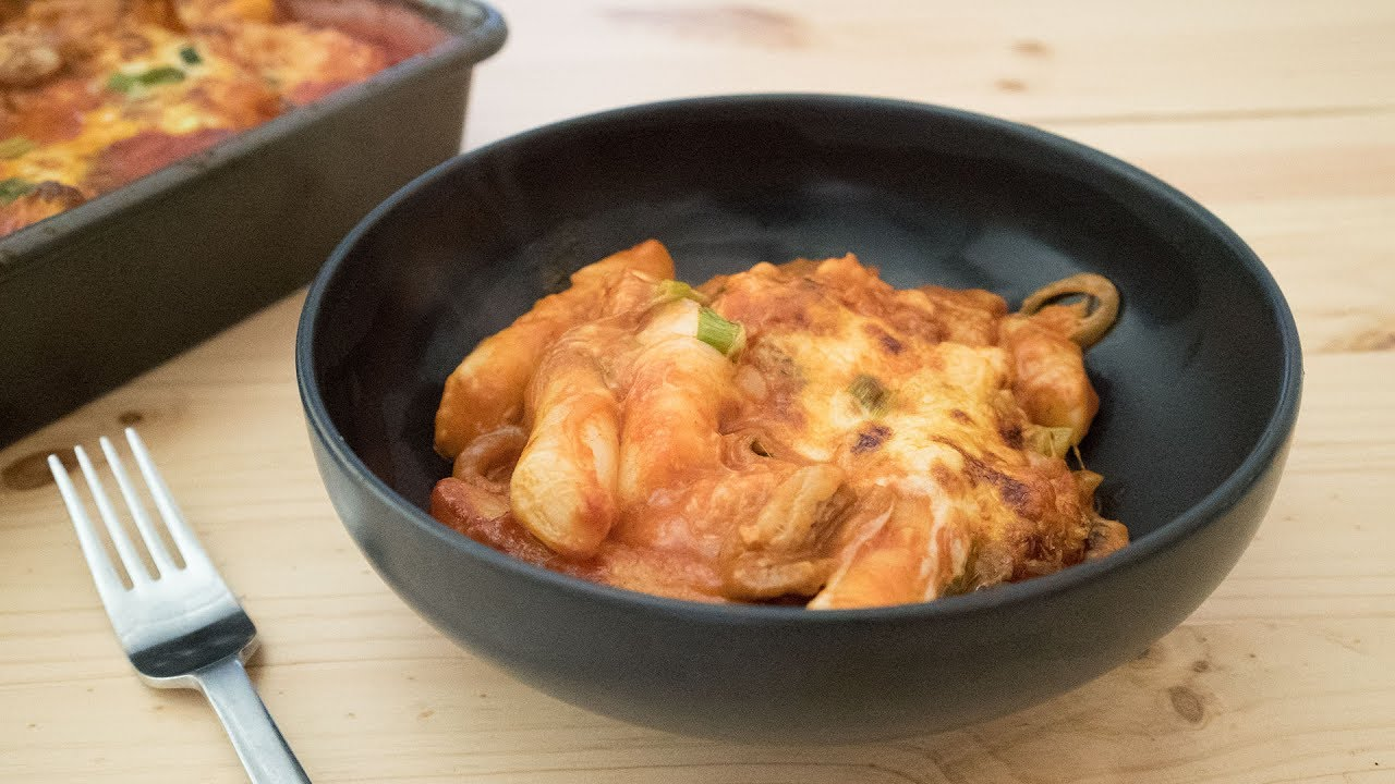 Baked Cheese Tteokbokki with Kimchi and Pork Belly  치즈 떡볶이