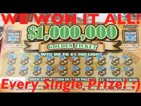 OMG WINNING EVERY PRIZE!! ALL GOLD BARS!! GOLDEN TICKET SCRATCHER!! California Lottery Scratchers
