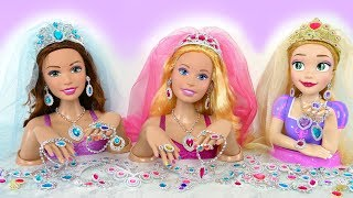 Giant Rapunzel Barbie Styling Head doll Wedding Makeover Earring Kepala boneka Barbie boneca Cabeça