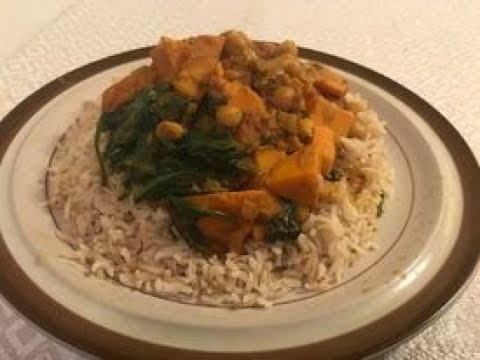 Vegan Sweet Potato, Chickpea, and Spinach Coconut  Curry
