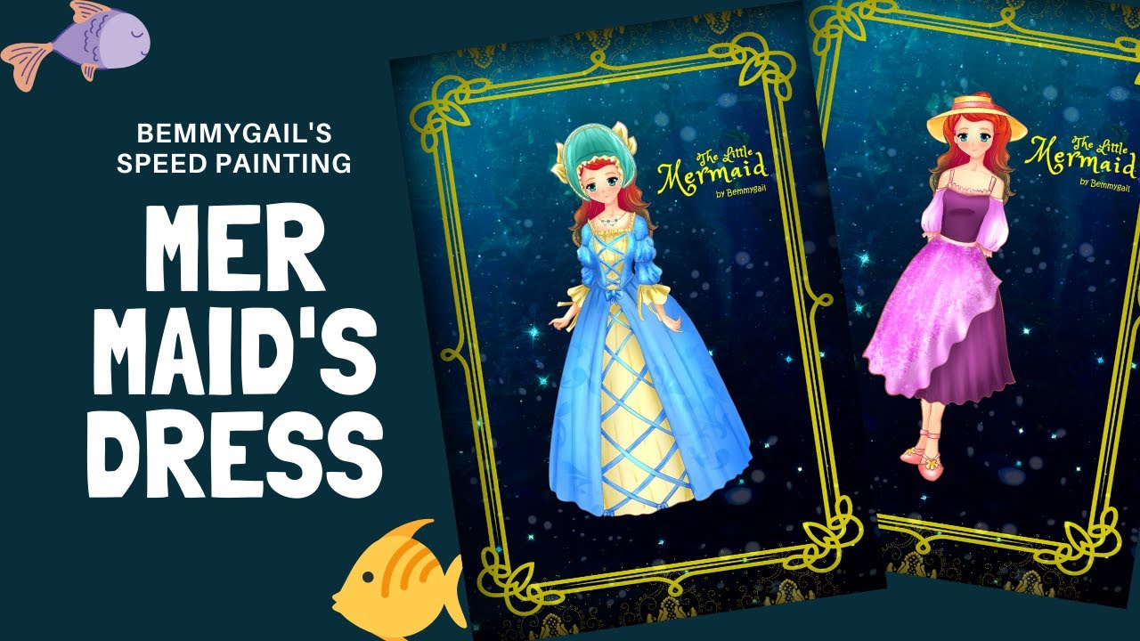 The Little Mermaid Speed Painting Paper Doll 2 TWO 1830 Fashion Outfits
