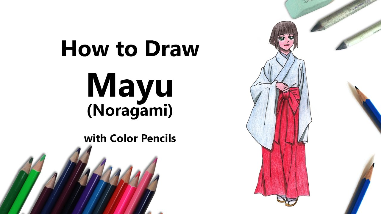How To Draw A Mayu From Noragami With Color Pencils Time Lapse