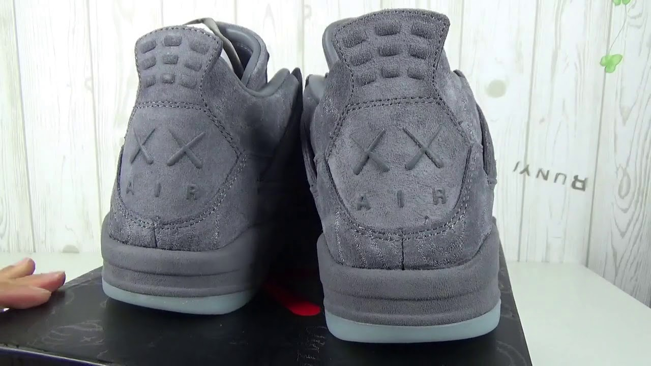 904e93fd0e7 Nike Air Jordan 4 Retro Kaws Gray Unboxing And Review - YouTube
