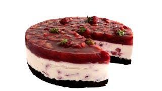 Творожно-клубничный торт. Мало калорий и максимум вкуса.