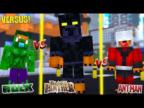 Minecraft Versus - BLACK PANTHER TAKES ON ANT MAN AND THE HULK thumbnail