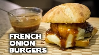 French Onion Burgers With Raspberry Chipotle Bbq Sauce