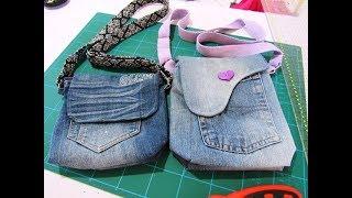 Bolsa tira colo jeans fácil de fazer