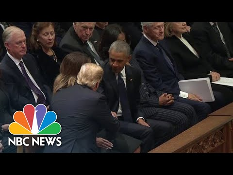 President Donald Trump Arrives For George H.W. Bush Funeral Service | NBC News
