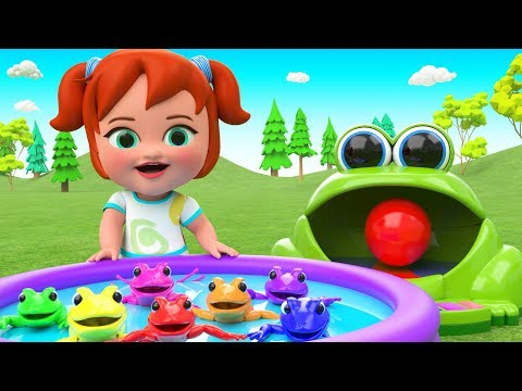Surprise Eggs Color Frogs Toy Set - Learn Colors for Kids Little Baby Play Frog Toys 3D Educational