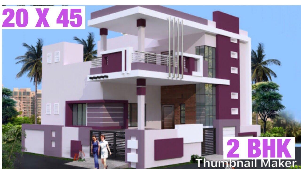 20 X 45 6m X 13m House Design Plan Map 3d View 2 Bhk Car Parking 100 Gaj Ghar Ka Naksha Youtube