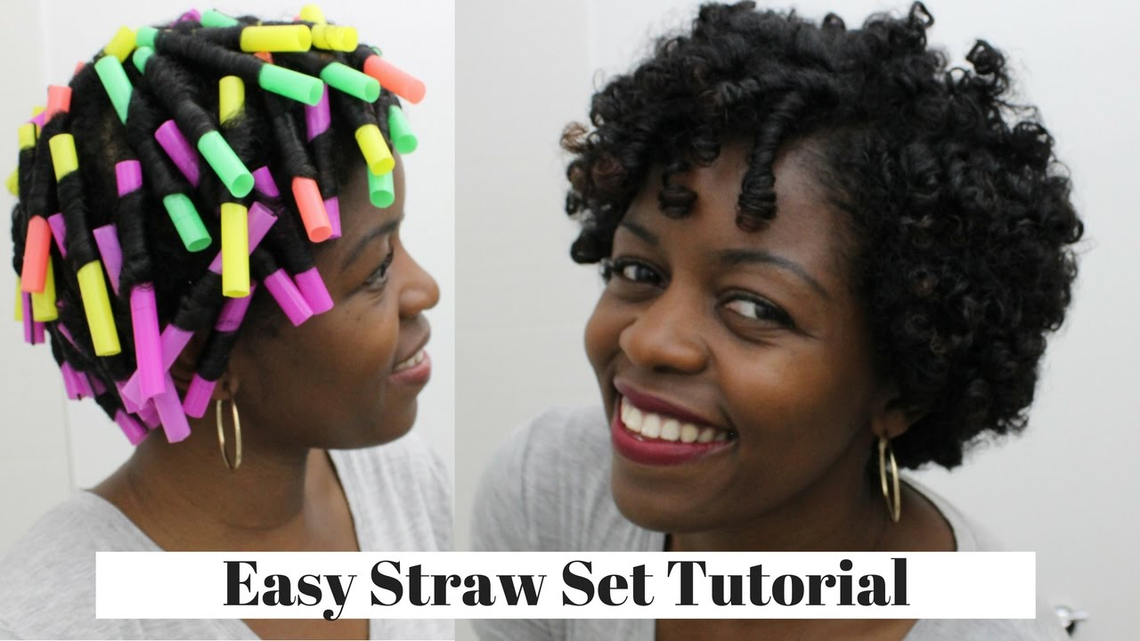 Straw Set Curls | Natural Hair 3c/4a | MissT1806 - YouTube