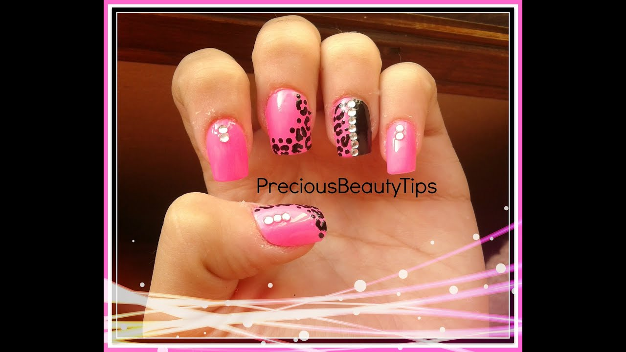 easy pink and black leopard print nails - youtube