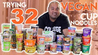 Trying 32 Vegan Cup Noodles (Vegan Ramen Taste Test)