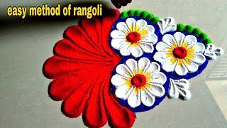 Beautiful and innovative flowers Rangoli using spoon/easy rangoli