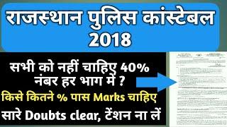 राजस्थान पुलिस Constable 2018, सभी भाग में नहीं चाहिए 40% , कितने % है पास Marks, सारी जानकारी Hindi