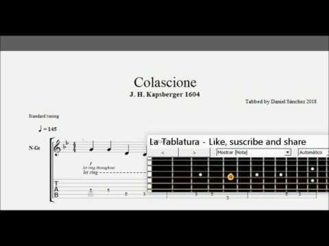 Colascione (G.G. Kapsberger 1604) -  Guitar tablature