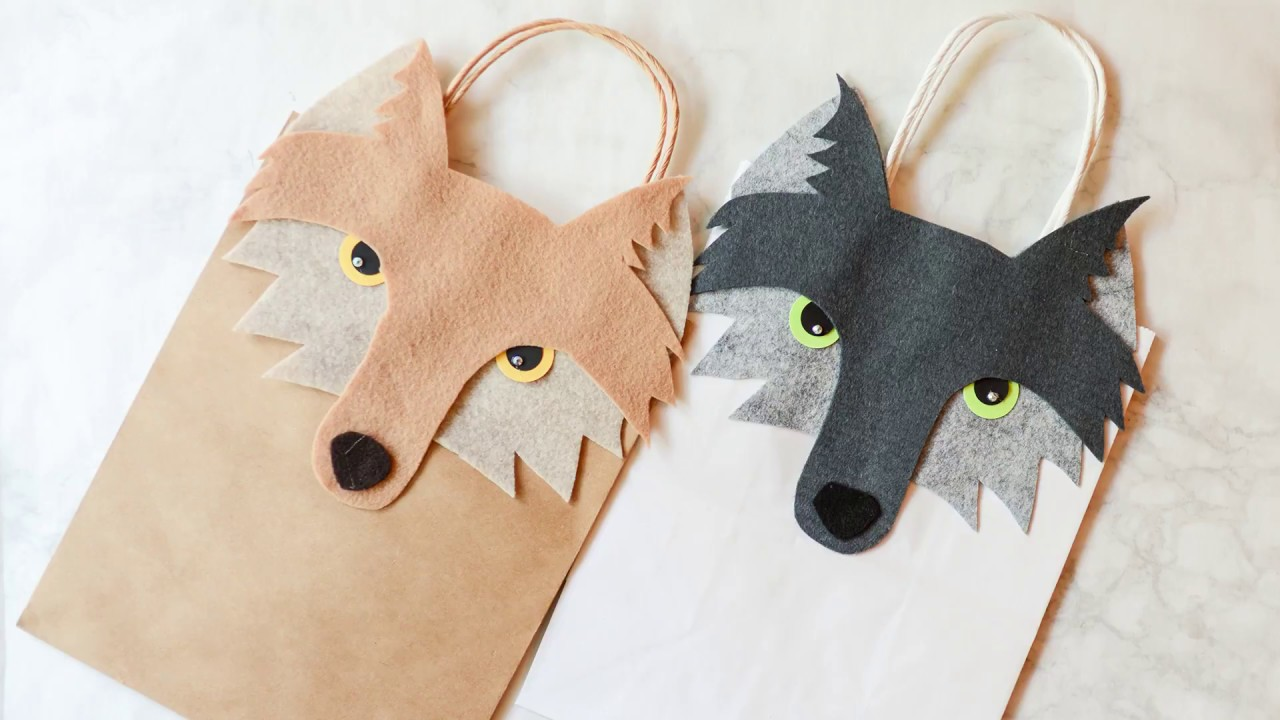 picture regarding Free Printable Paper Bag Puppet Templates called Straightforward Wolf Present Bag Guideline with Absolutely free Printable Templates