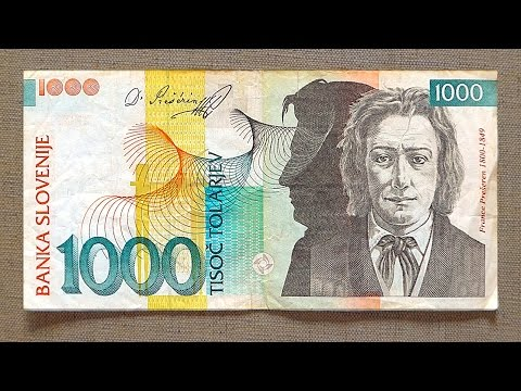 1000 Slovenian Tolarjev Banknote (Thousand Tolarjev Slovenia: 2005) Obverse & Reverse