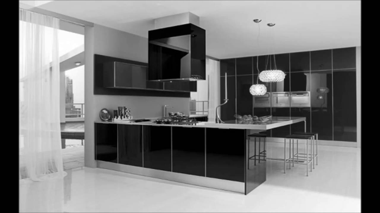 Ultra modern black and white kitchen decorating interior for Black and white modern kitchen designs