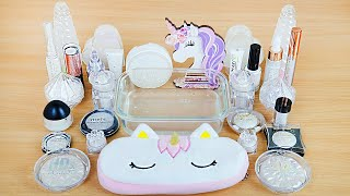 Crystal Unicorn SLIME Mixing makeup and glitter into Clear Slime Satisfying Slime Videos