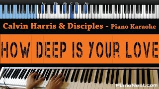 Calvin Harris & Disciples - How Deep Is Your Love - LOWER Key (Piano Karaoke / Sing Along)