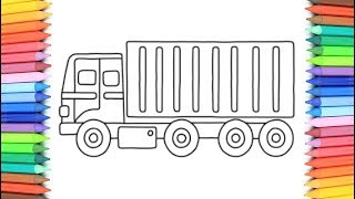 How To Draw A Truck for Kids 💙💜💖 Container Drawing and Coloring Pages for Kids