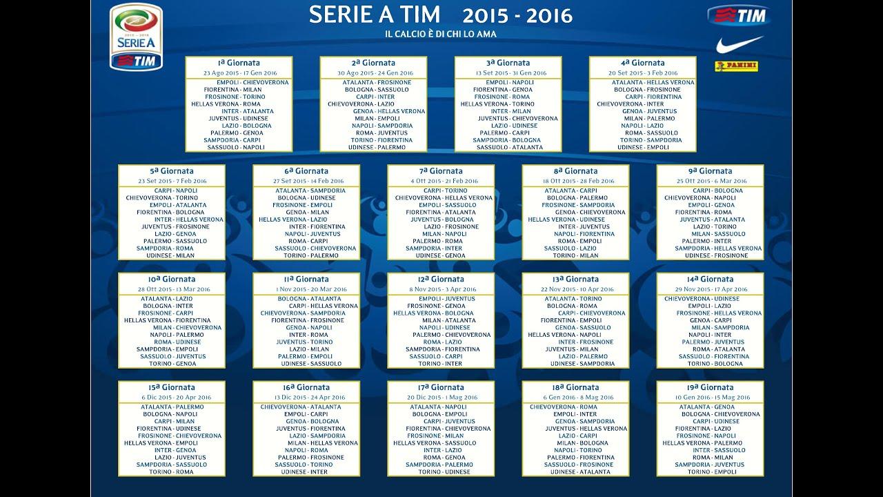 Serie A Tim Calendario.Calendario Serie A Tim Stagione 2015 2016 Draw Serie A Tim Season 2015 2016