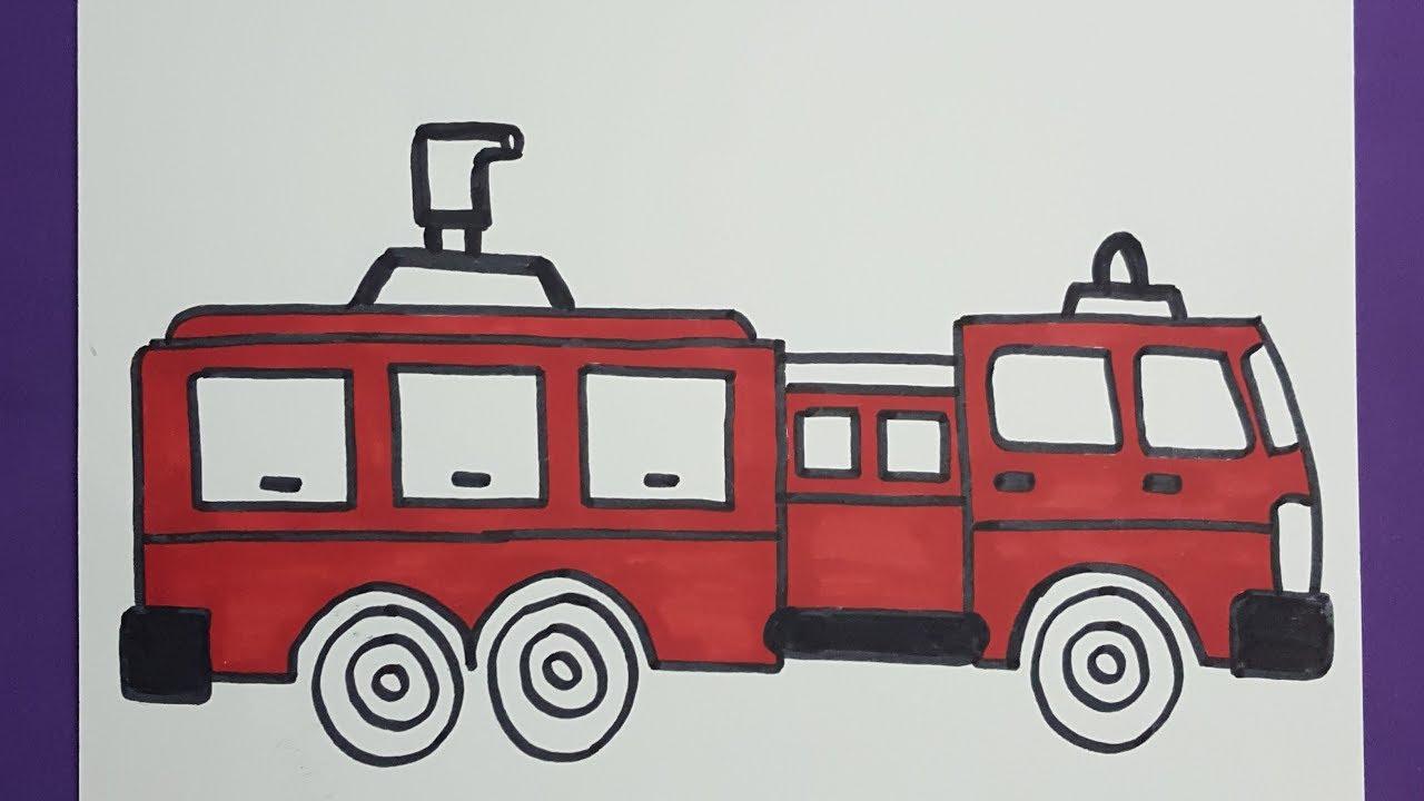 رسم الدفاع المدنى اطفال طريقة رسم سيارة اطفاء How To Draw A Fire Truck Easy Step By Step Youtube