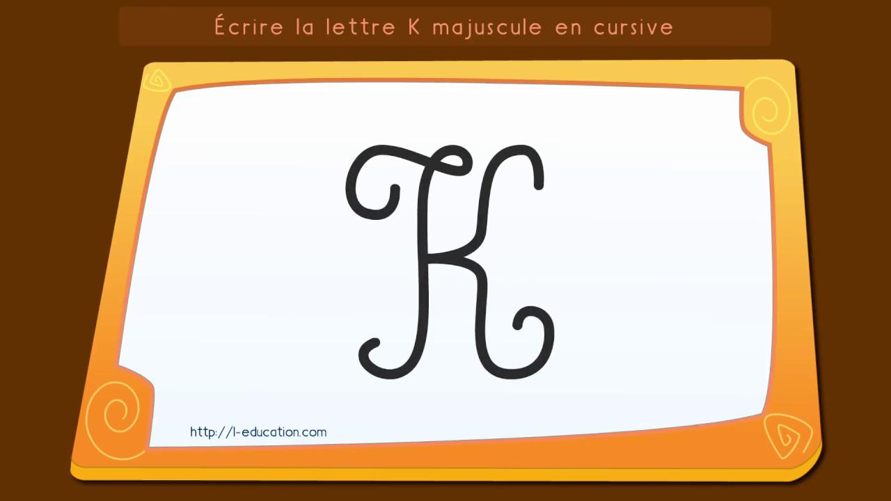 lettre k majuscule Écrire l'alphabet: Apprendre à écrire la lettre K majuscule en  lettre k majuscule