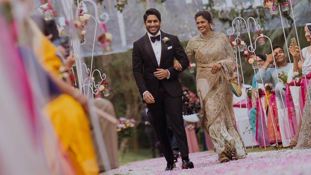 chaithanya with his mother lakshmi daggubati at naga chaitanya  u0026 samantha christian wedding