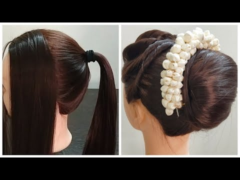 beautiful-hairstyle-for-wedding-and-puja-|-gajra-hairstyle-|-hairstyle-2019