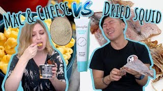 MAC & CHEESE VS DRIED SQUID? Trying This Korean Product...
