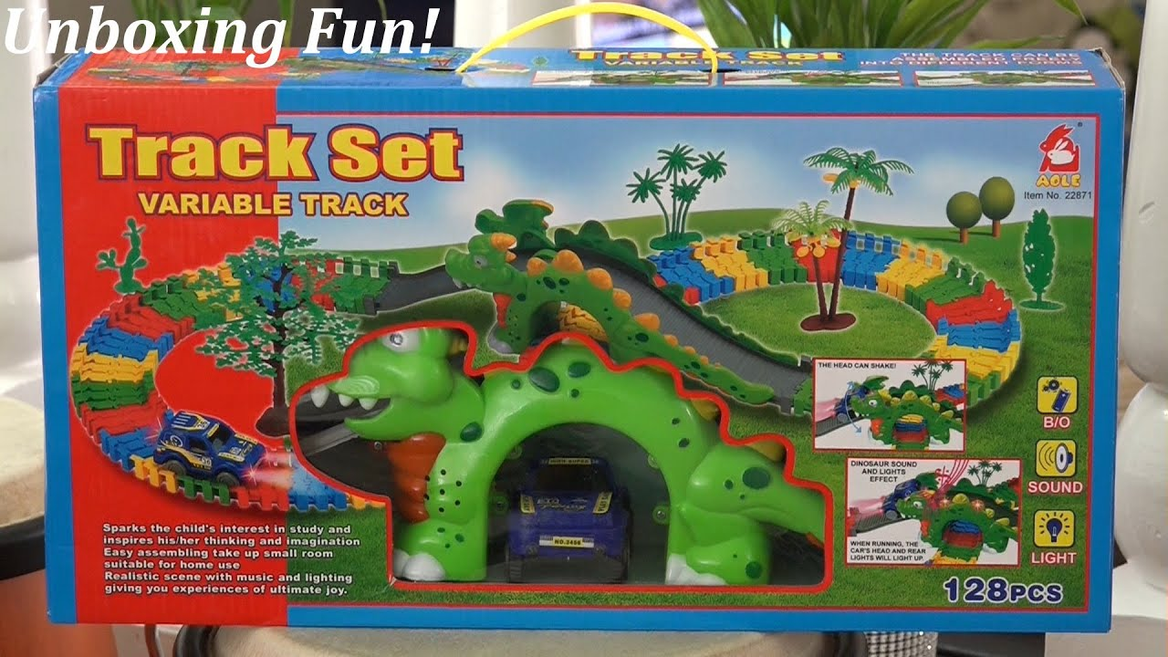 Dinosaur Race Track Set 2 Racing Toy Cars on Colorful Tracks