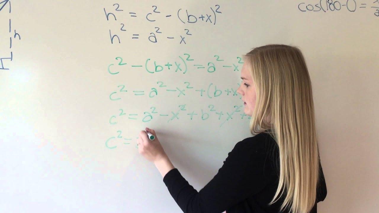 Sætning 3,5 s. 299: Cosinusrelationer med h uden for trekanten
