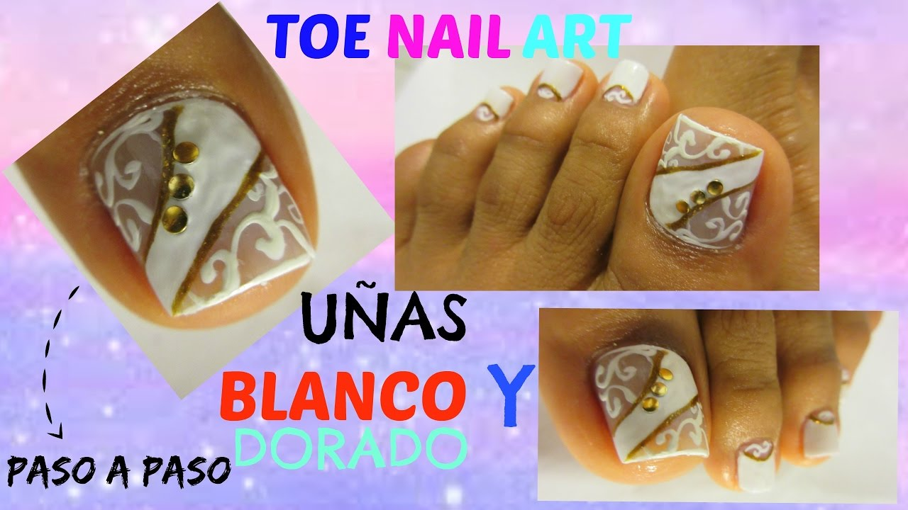 Uñas De Pies Decoradas Blanco Y Dorado White Gold Toe Nail Art