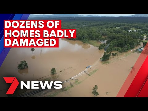 Freight train derailed amid storms and flash-flooding on NSW north coast | 7NEWS