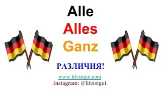 3 НЕМЕЦКИХ СЛОВА ALLE, ALLES, GANZ - в чем отличие?? Учим немецкий Wortschatz!