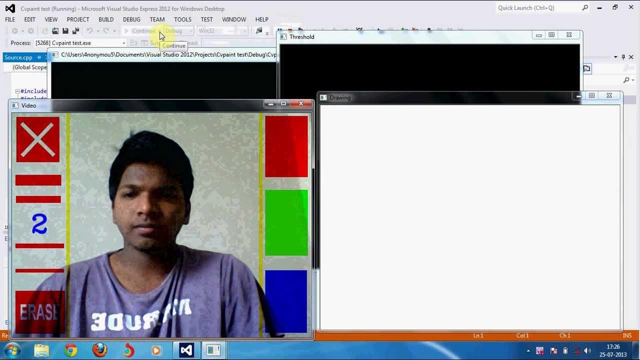 Paint through Webcam feed using opencv [Demo]