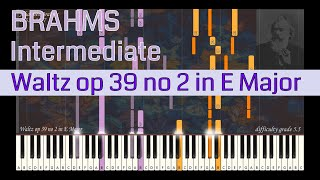 Johannes Brahms - Waltz op 39 no 2 in E Major | Synthesia Piano Tutorial | Library of Music