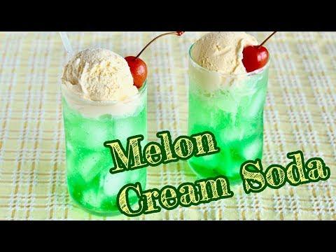 How to Make Melon Cream Soda (Melon Float) Classic Japanese Summer Drink   OCHIKERON