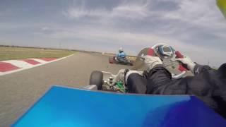 Rotax Max EuroChallenge - Zuera, free practice: Hatzistefanis - Pullinger, wheel to wheel action