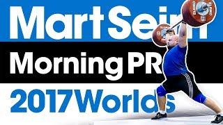 Mart Seim 50kg Jumps Morning PR Session 2017 World Weightlifting Championships