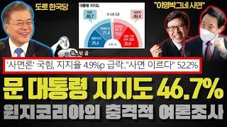 윈지코리아 여론조사 충격!! 문재인 대통령 지지도 46…
